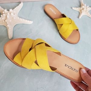 NEW Yellow Soda Slip on Sandals